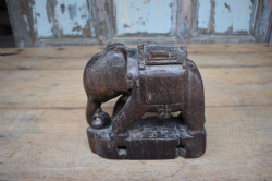 Old Teak Tribal Elephant, South India <b>SOLD<b>